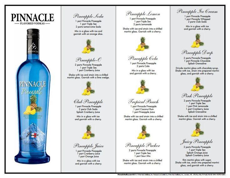 "Pinnacle Pineapple Vodka Drink Recipes  www.LiquorList.com  ""The Marketplace for Adults with Taste"" @LiquorListcom   #LiquorList"