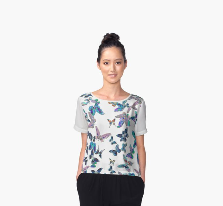 Womens Chiffon Top - Butterfly Print #butterflies #womenstop #chiffontop #womensfashion #originalapparel #artprints