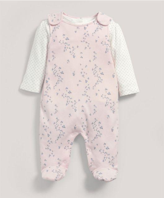 Pink Jersey Dungaree & T-Shirt Set