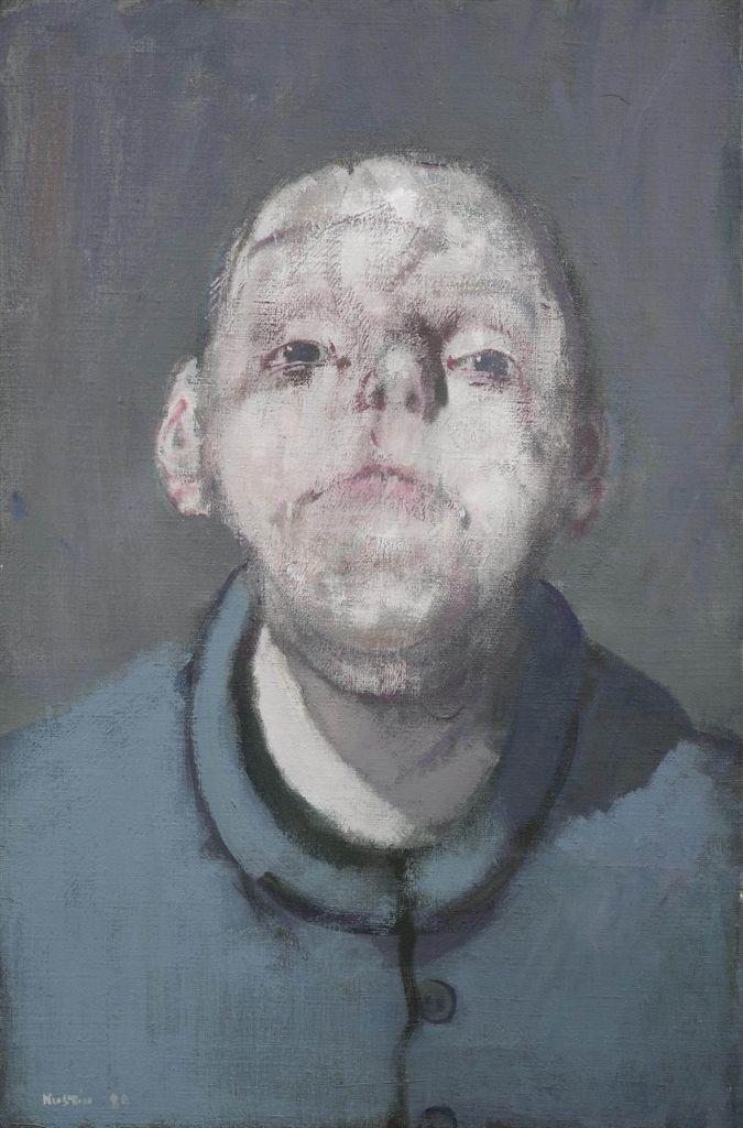 Jean Rustin (1928-2013), 'Portrait en veste bleu', 1989, acrylic on canvas, 41 x 27 cm