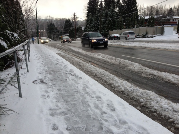 Tuesday morning snow in New Westminster and Burnaby made driving problematic for many drivers.