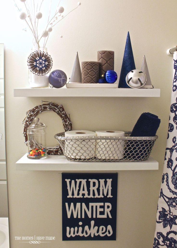 Holiday Home Tour 2013- wintery blue bathroom   – The Homes I Have Made Blog – #…   – shelves