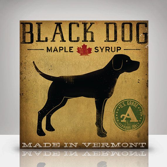Black LABRADOR Dog Maple Syrup Illustration on Canvas Panel 12x12.1.5 signed Gallery Wrapped Ready to Hang WALL ART via Etsy