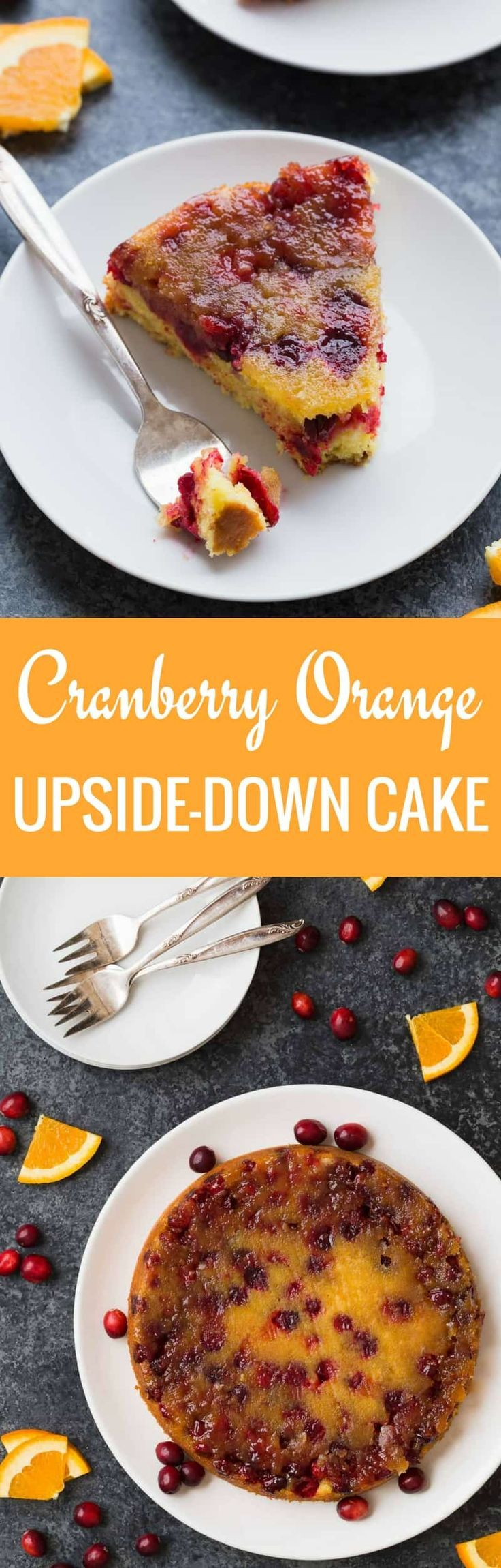 This cranberry orange upside-down cake is splendid. It's light, airy, sweet, with intense orange flavor. You can use fresh or packaged orange juice, but don't leave out the zest. #cranberry #orange #cake #Thanksgiving #Christmas