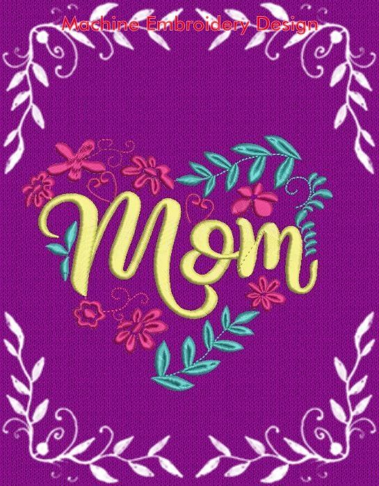 Mom Flowers lettering - Mothers day embroidery design, pes
