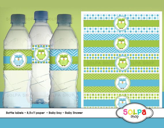 owl baby boy DIY printable bottle labels baby shower by Solpashop, $2.00