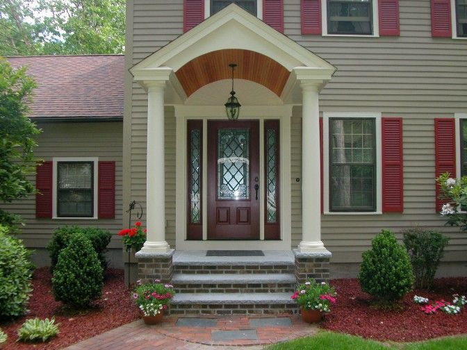 Superior Front Poarch Pillar Steps | ... Front Porch Design Ideas With Brown Brick  Front