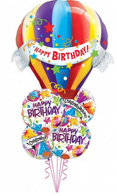 """Desea un """"feliz cumpleaños"""" con este arreglo de globos.  https://azapregalos.com/florerias/df/globos/globo-aerostatico"""