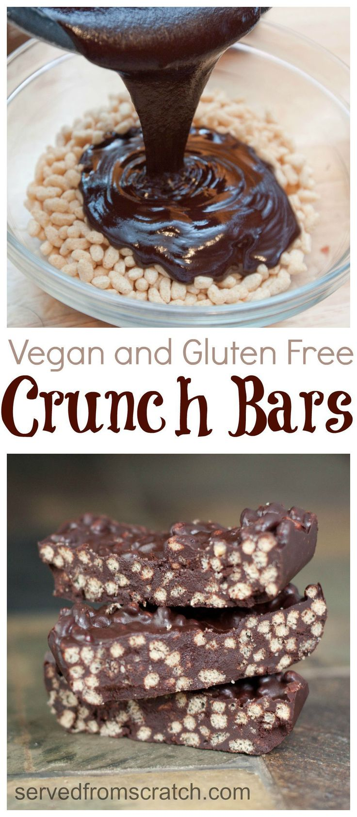 No added sugar, Vegan, and Gluten Free chocolate Crunch Bars!