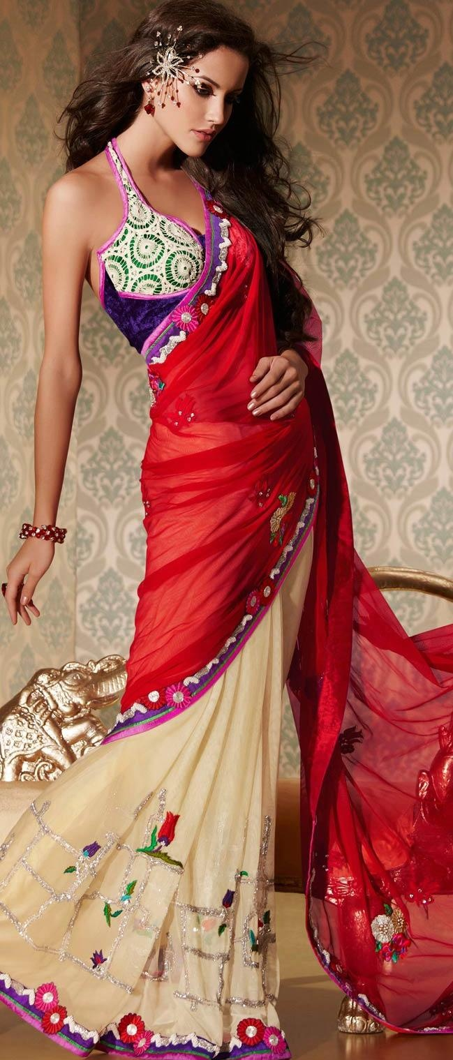 #Red and Cream Net #Saree With #Blouse