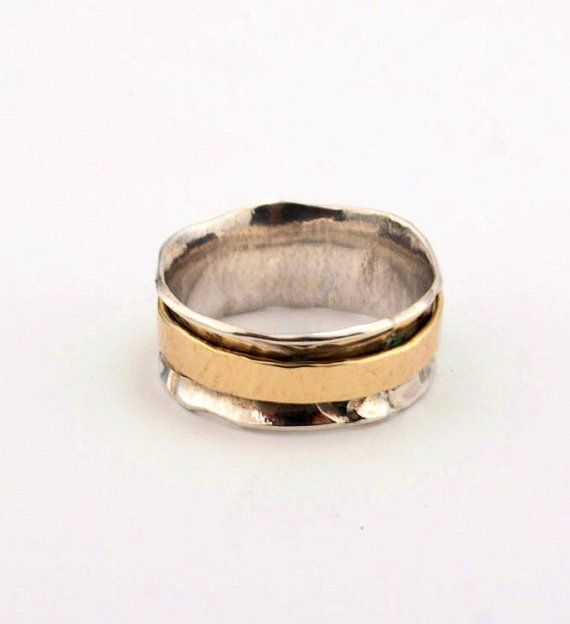 2 Wedding Ring Sterling Silver And 14k Gold Ring by LIRANSHANI