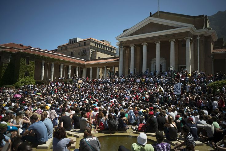Thousands of students converge at the University of Cape Town for a meeting about ongoing protests against fee hikes #FeesMustFall