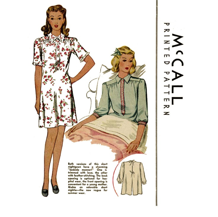 1940s Nightgown Pattern McCall 1060 Misses Hospital Gown Bed Jacket Front or Back Opening Womens Vintage Sewing Pattern Bust 34 or 40. $16.00, via Etsy.