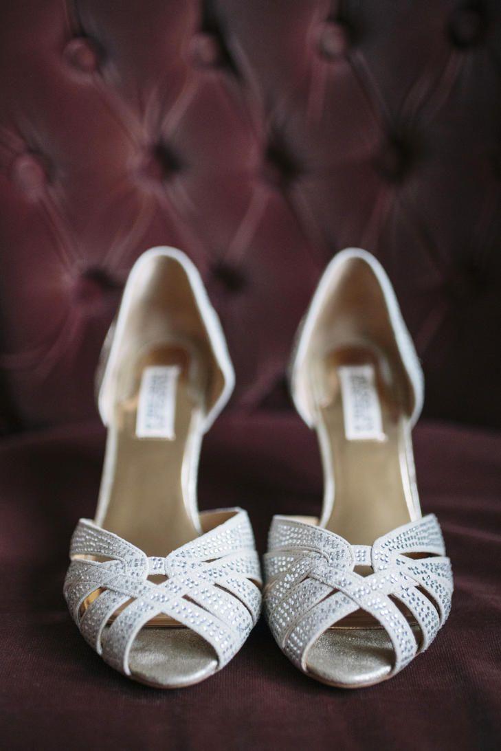 Brautschuhe High Heels Silber Hochzeitsschuhe Peep Toes Badgley