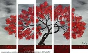 red black and white tree art - Google Search