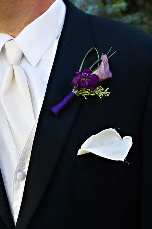 purple boutonniere  #wedding #denverwedding #boutonniere