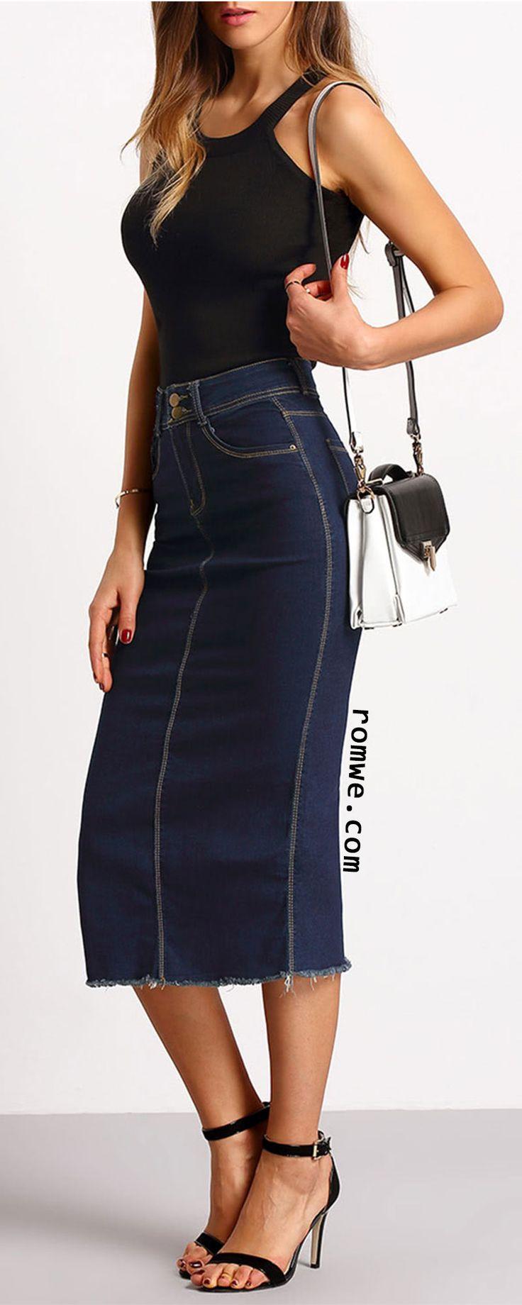 Navy Split Back Slim Denim Skirt