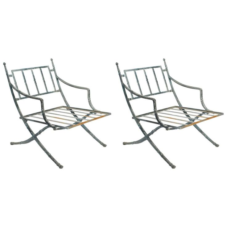 Marvelous Pair Of Classical Metal Outdoor Chairs