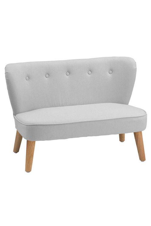 Ny stilren retro soffa från Kids Concept<br> <br>Super snygg enkel soffa i tyg med smala träben och tryckknappar på ryggstödet. Inred barnrummet med en mysig hörna.<br> <br>Mått: 91,5x55,5x61 cm<br>Maxvikt: 50 kg<br>Material: lin/bomull/trä<br>Färg: Grå<br>Ålder: 3-8 år <br><br>