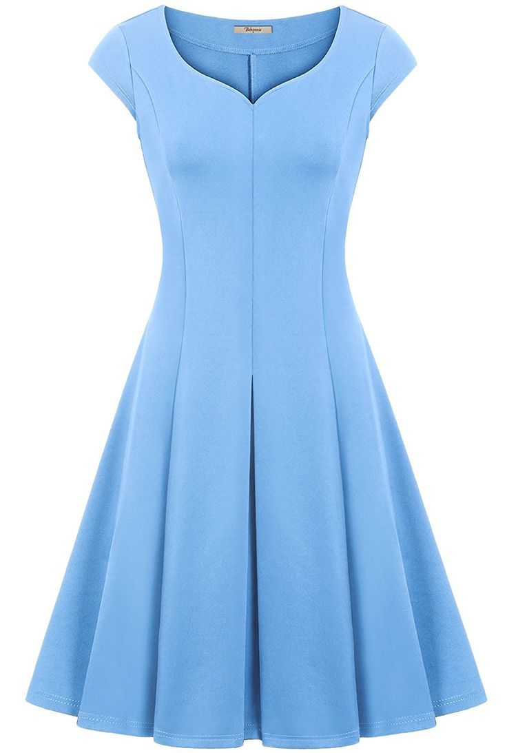 Wedding Dress,Bebonnie Women Short Sleeve Blue Casual Skater Bridesmaid Swing Dress Light Blue M
