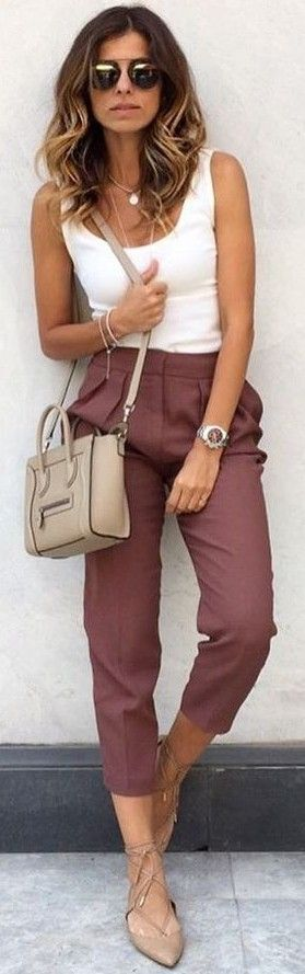 #fall #trending #outfits | White Top + Wine Pants
