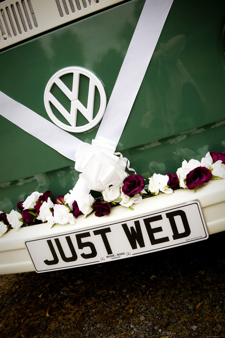 The bride arrived in style on her wedding day in a Classic Volkswagen Camper Van called Lilly hired from www.comfycampers.co.uk.  Lilly is a  1973 Type 2 Volkswagen Westfalia campervan. Lilly is over 37 years old, making her tax exempt. She is sage green under white. Lilly is a traditional air-cooled Type 2 VW Westfalia campervan and is a right-hard drive. 1600cc.