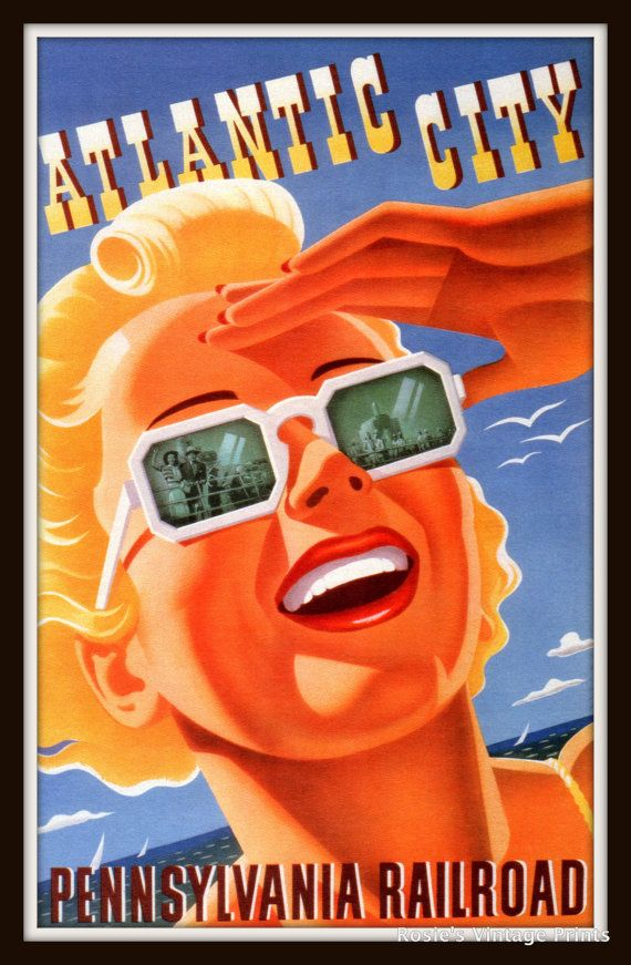 Vintage Travel Poster ATLANTIC CITY by RosiesVintagePrints on Etsy, $25.00