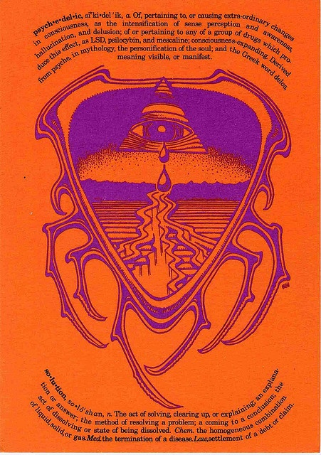 """Have this hanging on my wall. Psychedelic Solution  Artwork by Rick Griffin for the best/only poster store in NYC,  Psychedelic Solution, on 8th Street near Washington Square Park -  """"Harbinger of Emotional Geometry Since 1967"""". Postcard  announces 1st catalog printed by the store."""