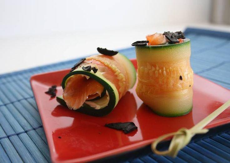 Sushi de calabacín y trucha ahumada