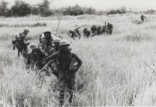 Marines of the 5th Marine Regiment on a sweep through elephant grass during Operation Meade River, the largest heli-borne operation in Marine Corps history.