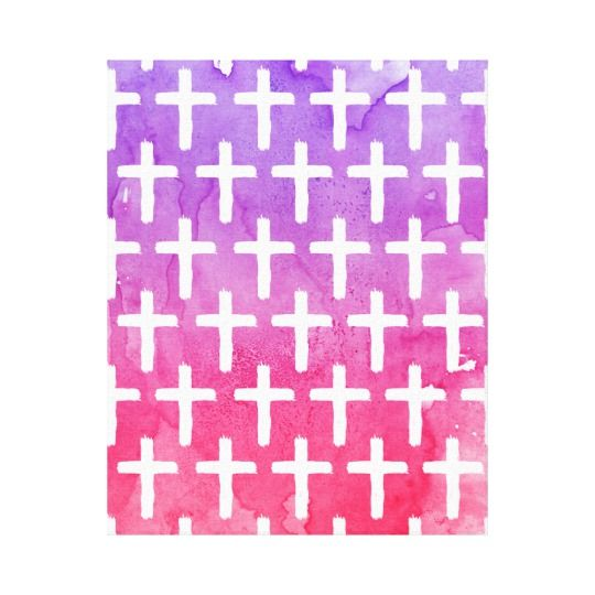 Purple home decor is absolutely adorable no matter if you like pale purple, lavender, lilac, magenta or violet purple home decor.  A purple themed home is easy to achieve by using purple wall art, purple throw pillows, purple throw blankets and purple area rugs.  Use this along with other purple wall art to create a relaxing, funky home decor theme #purple  Cross Pattern Abstract Pink Purple Watercolor Canvas Print