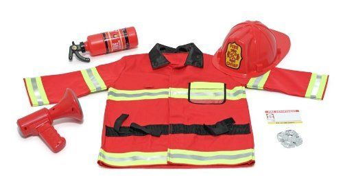 Melissa & Doug Fire Chief Role Play Costume Set by Melissa & Doug. $26.90. Amazon.com                The Melissa & Doug Fire Chief Role Play Costume Set allows your child to dress up like a heroic firefighter. Suitable for ages three to six, this costume set contains everything your little one needs to pretend they're a fire chief, including a bright red jacket, helmet, fire extinguisher, bullhorn with sound effects, badge, and name tag for personalizing. With its colorf...