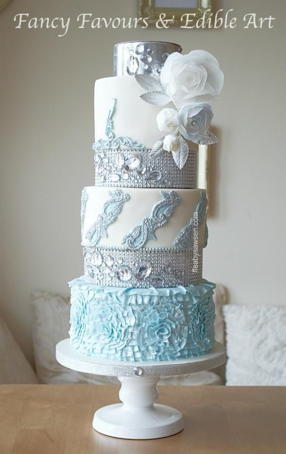 Blue diamond wedding cake  by Fancy Favours & Edible Art (Sawsen)  - http://cakesdecor.com/cakes/209398-blue-diamond-wedding-cake
