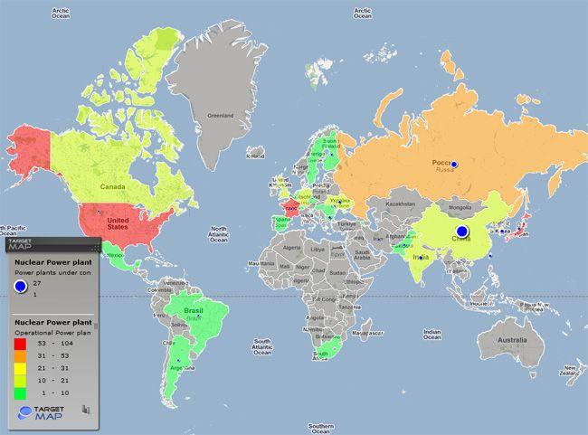 Maps They Didn't Teach You In School: nuclear power plants worldwide