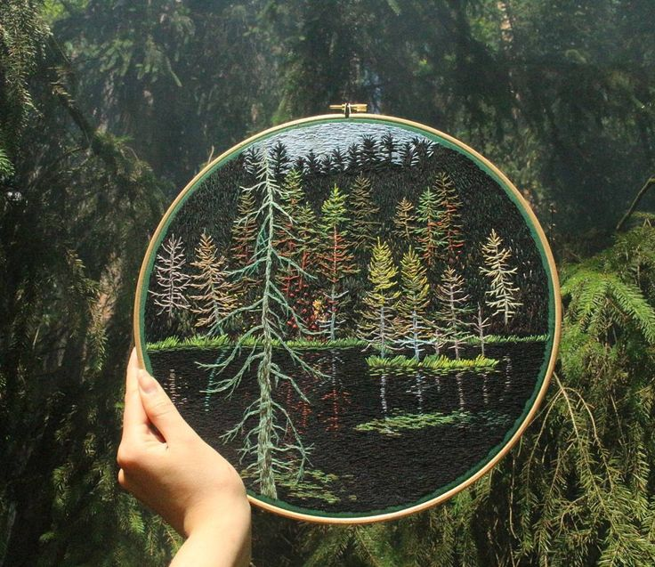 """1,770 Likes, 64 Comments - Embroidery by Jūra Gric (@mirrors_and_fevers) on Instagram: """"It took me nearly a month to create this magical forest lake embroidery, but I'm very happy with…"""""""