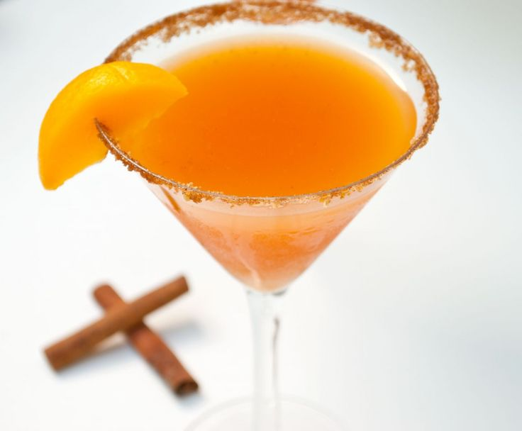 Peach Cobbler Martini....graham cracker/brown sugar/ cinnamon rim, cake or whipped cream vodka, Frangelico, peach nectar..