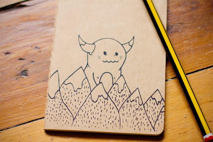 Mountain Monster Notebook Screen Printed Pocket Moleskine Cahier. $6,50, via Etsy.