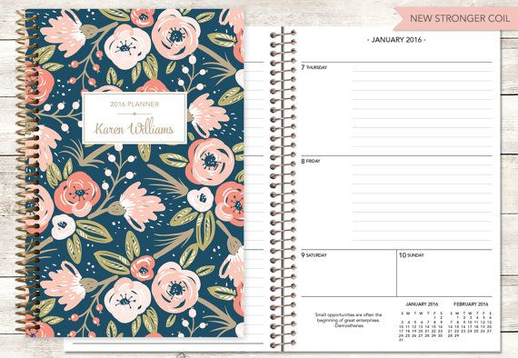 2016 planner | 2016-2017 calendar | custom weekly student planner | personalized planner agenda daytimer | pink gold navy floral pattern