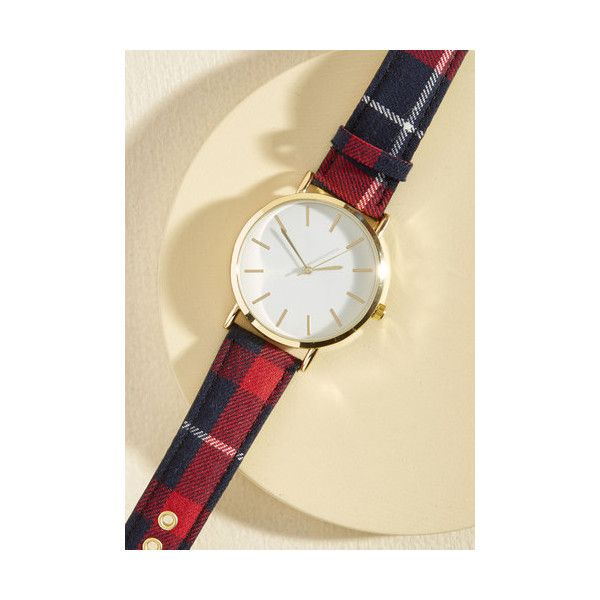 This Time Around Watch ($35) ❤ liked on Polyvore featuring jewelry, watches, accessories, multi, plaid jewelry, gold wrist watch, white dial watches, gold jewellery and oversized watches