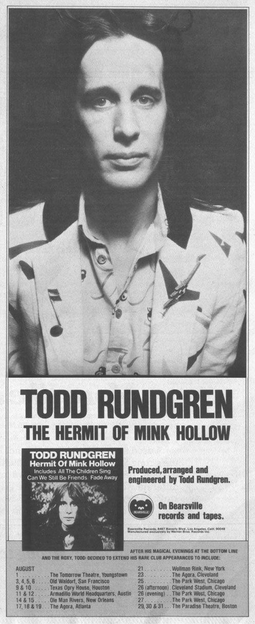 """Todd Rundgren - A Brilliant """"Hermit""""!  """"Mink Hollow's"""" Power Pop Masterpiece! - http://johnrieber.com/2014/07/25/todd-rundgren-a-brilliant-hermit-mink-hollows-power-pop-masterpiece/"""