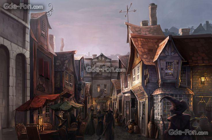 Скачать обои Гарри Поттер,  фан-арт,  диагон аллея,  волшебники бесплатно для рабочего стола в разрешении 1950x1287 — картинка №392077