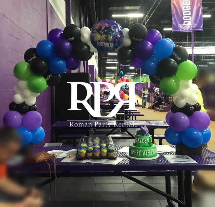 Blue, Purple, Black, Lime Green, White Table Arch
