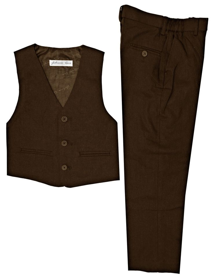 Boys Linen Blend Vest And Pants Set (7, Brown). Fully lined full back vest with adjustable waist. Sizes 2T To 16 Flat front pants Lined to the knee feature belted waist with finished curtained waist band, dress pant fly, side entry pockets, with finished hems. Baby sizes All around Elastic waist Plain pants with finished hems.