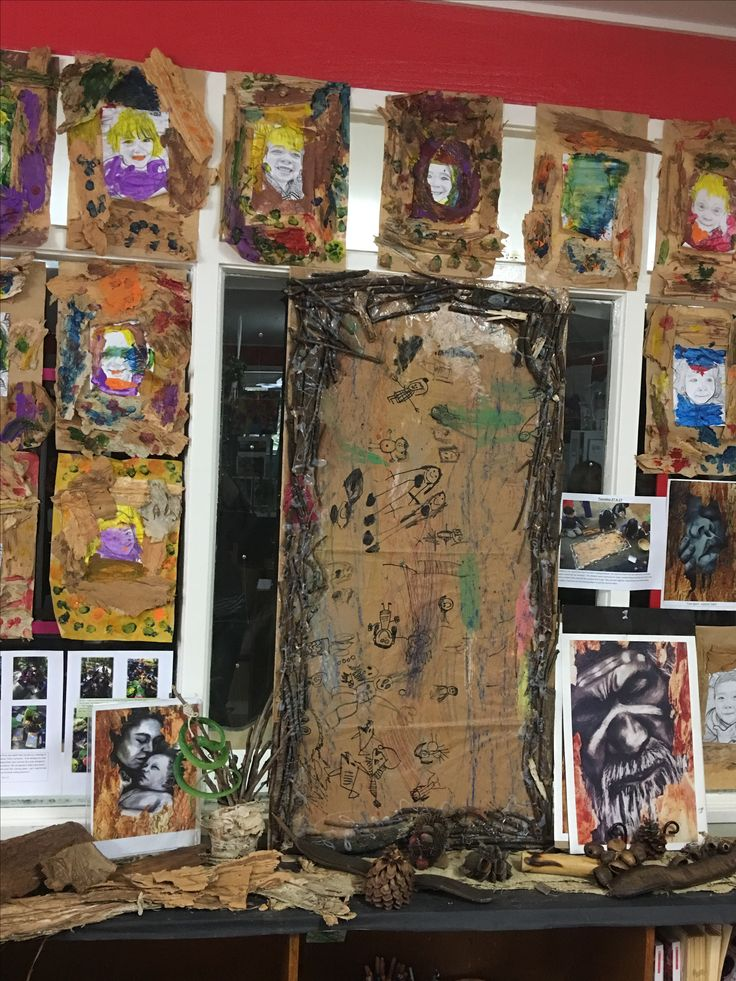 Collaborative Scar tree rubbing and children's artworks inspired by Darug artist Leanne Tobin at Concord West Rhodes Preschool