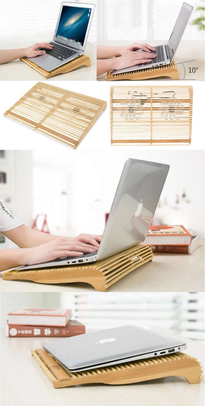 Portable Bamboo Wooden Desktop Macbook Laptop Cooling Folding Stand Holder Pad Ipad Iphone Smart Phone Cooling Pad Diy Laptop Stand Diy Laptop Laptop Stand