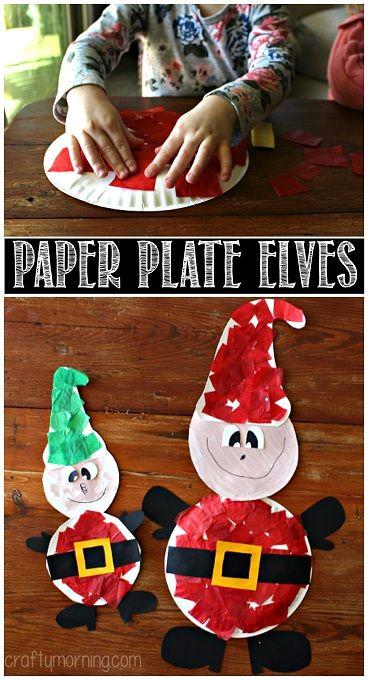 Paper Plate Elves Christmas Craft for Kids   #Tissuepaper CraftyMorning.com