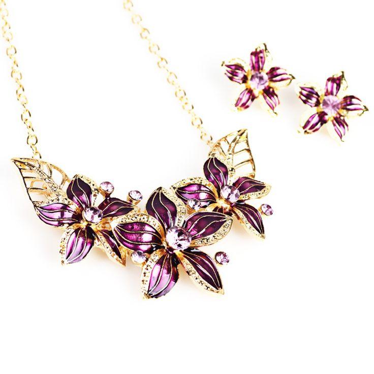 Cheap Fashion Jewelry Set Flowers Drop Diamond Short Necklace Online black | Tomtop