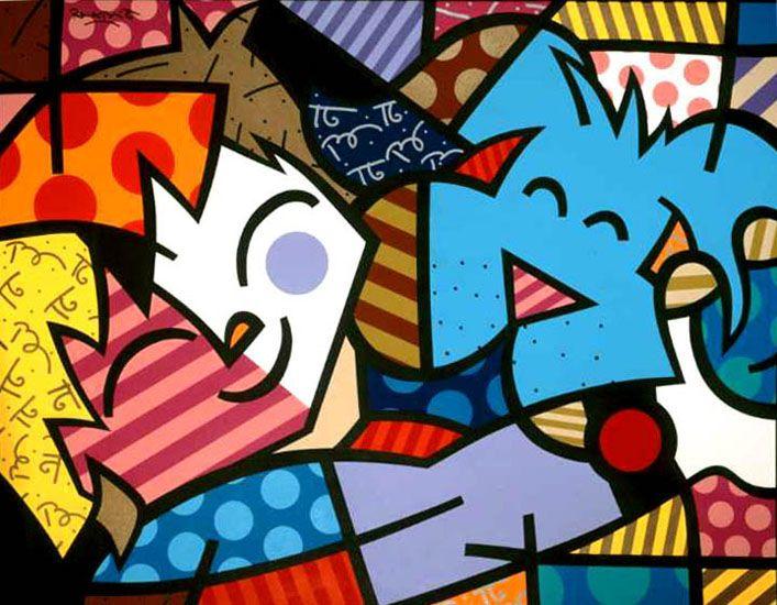 Romero Britto. Melhores Amigos. 1999. - artes visuais - desenho - pintura - escultura