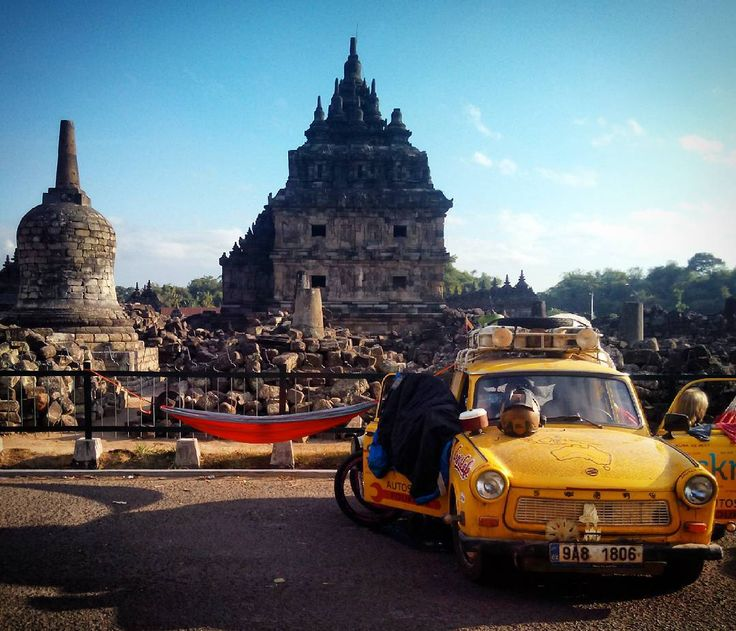 Sleeping in hammock between 800 years old Plaosan buddhist-hindu temple and 30 years old Trabant car :D / Spaní v hamace mezi 800 let starým buddhisticko-hinduistickým chrámem Plaosan a 30 let starým Trabantem :D #TransTrabant #Trabant #Indonesia #MOTOTRIPASIA #mototrip #java #plaosan #trabant601 #hammock #hammocktime #hammocklife #hamaka by @jirihruska.cz