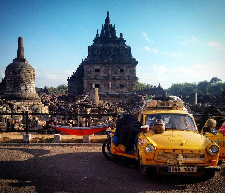 Sleeping in hammock between 800 years old Plaosan buddhist-hindu temple and 30 years old Trabant car :D / Spaní v hamace mezi 800 let starým buddhisticko-hinduistickým chrámem Plaosan a 30 let starým Trabantem :D #TransTrabant #Trabant #Indonesia #MOTOTRIPASIA #mototrip #java #plaosan #trabant601 #hammock #hammocktime #hammocklife #hamaka by @jirihruska.cz